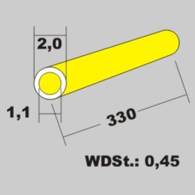 Messingrohr 2,0x1,1 x 330mm