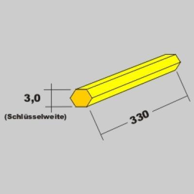 Messing 6kant Profil 3,0 x 330mm