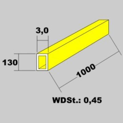 Messingrohr rechteckig 13,0x3,0 x 1000mm