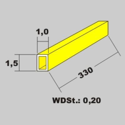 Messingrohr rechteckig 1,5x1,0 x 330mm
