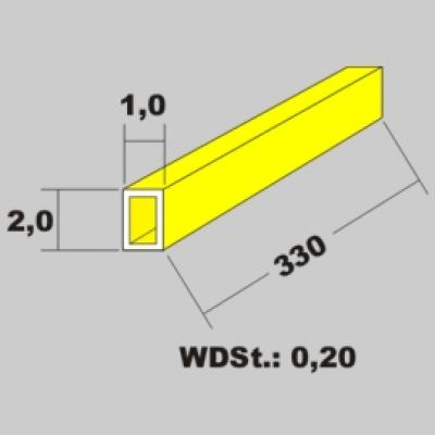 Messingrohr rechteckig 2,0x1,0 x 1000mm