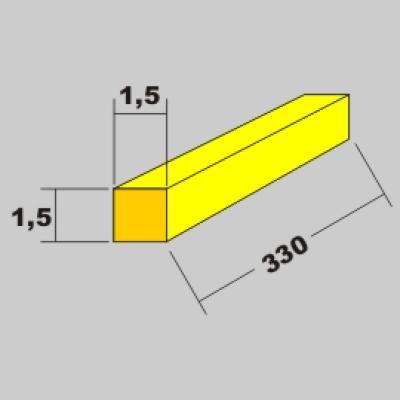 Messing Vierkant Profil 1,5x1,5 x 330mm