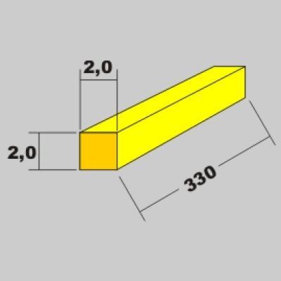 Messing Vierkant Profil 2,0x2,0 x 330mm