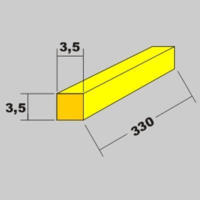 Messing Vierkant Profil 3,5x3,5 x 330mm