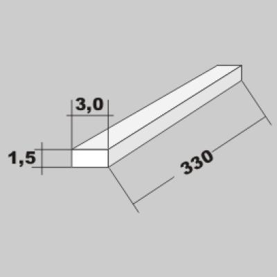 P-Vierkant Flach Profil 1,5x3,0 x 330mm
