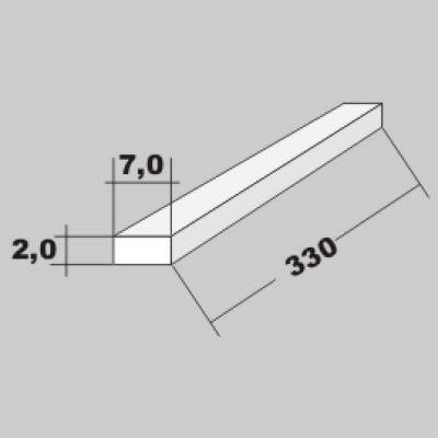 P-Vierkant Flach Profil 2,0x7,0 x 330mm