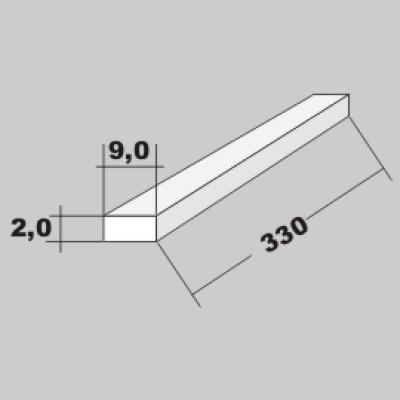 P-Vierkant Flach Profil 2,0x9,0 x 330mm