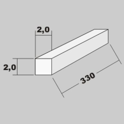 P-Vierkant Profil 2,0x2,0 x 330mm