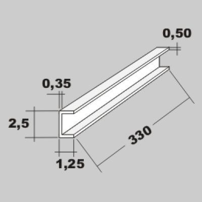 P-U-Profil 2,5x1,2 x 330mm